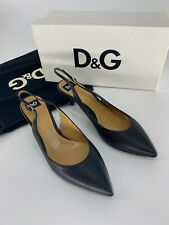 100% Authentic D&G Slingback Capra Leather Black Pointed Toe Career Shoes 899$