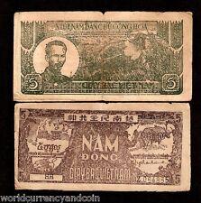 VIETNAM 5 DONG P17 1948 *BUNDLE*RIFLE BUFFALO HO CHI MINH CURRENCY BILL 100 NOTE