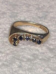 Hallmarked 9 Karat Gold Six Stone Sapphire Ring. Birmingham 1978