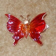 ORANGE BUTTERFLY GLASS CHRISTMAS ORNAMENT