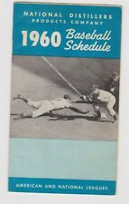 Major League Baseball Schedule 1960 foldout pocket