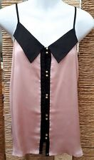 ASOS Ladies Pink & Black Button Front Collared Strappy Blouse Size 10