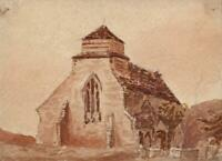 BRINSOP CHURCH NEAR HEREFORD Small Watercolour Painting 19TH CENTURY
