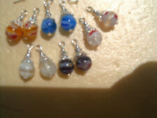 5 Pairs Lampwork SP Jewelry charms & 2 Copper Ball Interchangeable earring hooks