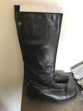 WOMENS ETIENNE AIGNER CAILYN 9M BLACK LEATHER KNEE BOOTS