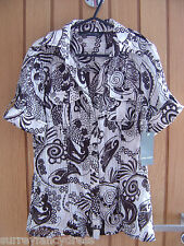 Zara Básico Marrón Blanco Señoras camisa blusa de seda Tamaño M Mediano Nuevo PVP £ 25 (ref Z)