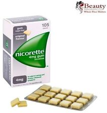 Nicorette Chewing Nicotine Gum 4mg Orginal Flavor 105 Pieces Free Shipping to US