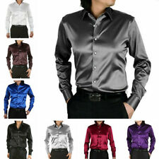 Mens Satin Silk-like Long Sleeve Shirt Wet Look Smart Casual Wedding Top Blouse