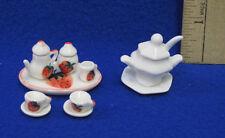 Dollhouse Miniature White Soup Tureen Bowl & Tea Service Set Strawberry Lot 14