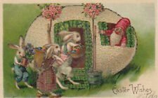 Dressed Rabbit Family & Giant Egg with Elf Antique Easter Postcard~s-106
