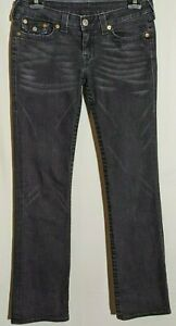"Women's True Religion Jeans Billy Straight Stretch Black Size 13 Long Leg 34"""