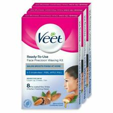Veet Face Precision Waxing Kit for Upper Lip Cheeks & Chin 8 Strips Pack of 3 UK