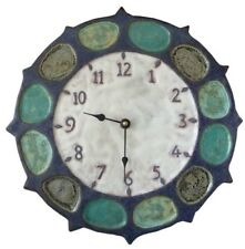 Nautical Ceramic Art Wall Clock in Blues, Greens & White- battery, quiet, rustic
