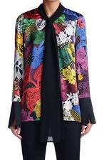 Just Cavalli Women's Multi-Color Silk Long Sleeve Blouse Top US S IT 40