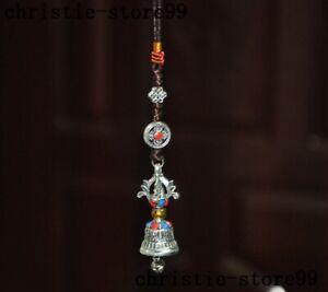 Tibetan Buddhism Tibet silver Inlay gem Vajra phurpa Bells statue amulet Pendant