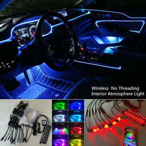 13PC Wireless APP Control Optic Fiber LED EL Light Car Interior  Atmosphere Lamp