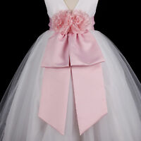Pink Sash Wedding Flower Girl Dress Bow Waistband 12M 18M 2 3/4 5/6 7/8 9/10 12