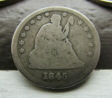1845/45 ~ Repunched Date FS-301 ~ Seated Liberty 25c ~ Tough Date ~ Rare Variety