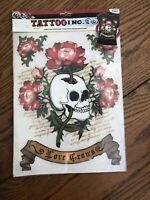 2010 TATTOO INC. Love Grows Skull FLOWERS IRON-ON TRANSFER To Shirt