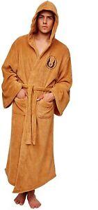 NEW! Men's Bathrobe Star Wars Jedi Knight Robe Republic Hooded Dressing Gown