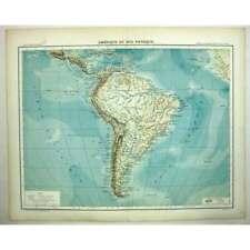 SOUTH AMERICA Physical Map (Amerique du Sud Physique) - Antique Map 1891
