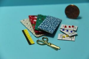 Dollhouse Miniature Sewing Set with Fabrics Scissors Button Cards and More
