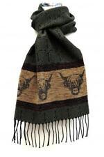 Calzeat of Scotland Celtic Alba Highland Cow Coo Green Jacquard Wool Scarf