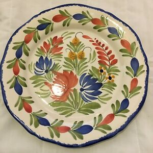 Henriot Quimper France Plate Blue Green Red Yellow Flowers F6 DFR PM