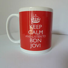 New Keep Calm and Listen To Bon Jovi Gift Mug Cup Carry On Cool Britannia Retro