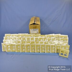 50 Leviton Ivory 2-Gang Outlet Covers Duplex Receptacle Plastic Wallplates 86016