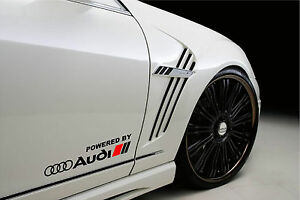 Powered by Audi Racing Sport S Line Decal sticker emblem logo BLACK/R Pair