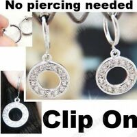 CLIP ON rhinestone CRYSTAL CIRCLE DROP EARRINGS hoop silver plated hoops ROUND