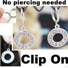 CLIP ON rhinestone CRYSTAL CIRCLE DROP EARRINGS hoop silver plated hoops ROUND