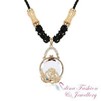 18K Gold GP Made With Swarovski Crystal Round Shaped Rose Rope Long Necklace