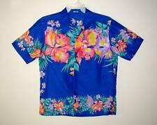 Sz M Vintage ROYAL CREATIONS Hawaiian Aloha Shirt TROPICAL ORCHIDS Polyester