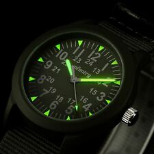 INFANTRY Mens Quartz Wrist Watch Analog Luminous Green Nylon Sport Military Army