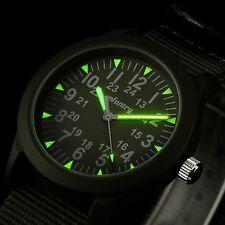 INFANTRY Mens Quartz Wrist Watch Analog Luminous Green Nylon Sport Military Army