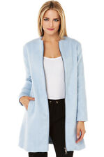 BB Dakota Women's Liezel Collarless Brushed Wool Zip Front Coat, Cyanide, Size S