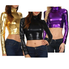 Women Shiny Long Sleeve High Neck Dance Crop Top Pullover Short Blouse T-Shirt