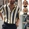 Men Summer Striped Button Down Dress Shirts Slim Casual Short Sleeve T Shirt Top