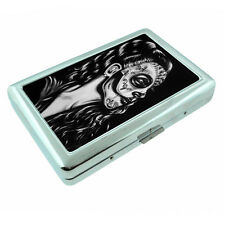 Sugar Skull D20 Silver Cigarette Case / Metal Wallet Day of the Dead Muertos