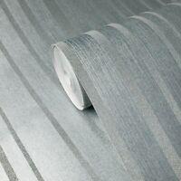Modern Glassbeads lines striped textured blue teal silver Metallic Wallpaper 3D