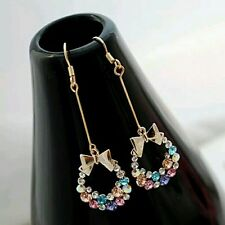 #1049 Charming Jewelry Crystal Rhinestones Inlaid Bowknot Shaped Dangle Earring