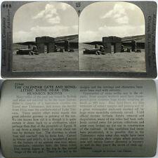 BOLIVIA From 1200 Card Set #128 Keystone Stereoview Monolithic Ruins Tiahuanaco