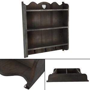 Wall Unit Shelf Storage Shabby Chic Cupboard Cabinet Key Hooks Vintage Style UK