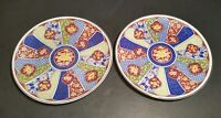 Imari Ware Bread Butter Plates 6 3/8 Inch Lot Of 2 Flowers Red Blue Yellow Japan