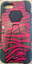 Apple iPhone 5 Cell Phone Case w Kickstand Pink & Black Zebra Plastic & Rubber