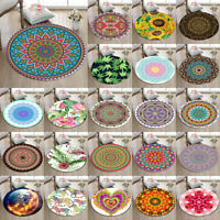 Round Yoga Mat Rugs Floor Bathmat Non-slip Carpet Mandala Heart Tropical Plants