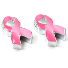 2 Pink Ribbon Breast Cancer License Plate Frame Screw Caps/Covers for Auto-Car