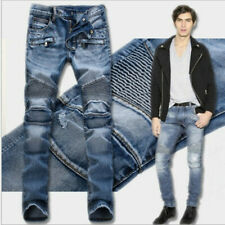 2020 summer men's jeans slim denim trousers pleated motorcycle rider jeans hip-h